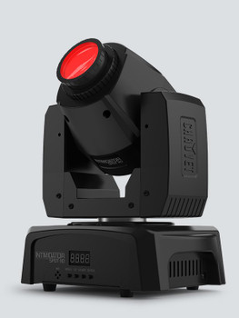 CHAUVET Intimidator Spot 110 compact and lightweight LED moving head front/right view with red light illuminating