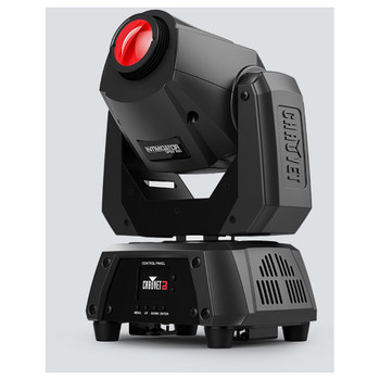 CHAUVET Intimidator Spot 160 Feature-packed moving head designed for mobile performances front/right view of red light facing upwards and logos/buttons on front