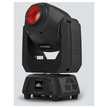 CHAUVET Intimidator Spot 260 Feature-packed moving head fitted with a 75W LED front/right view with red light shining upward
