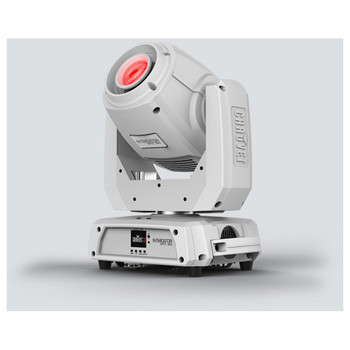CHAUVET Intimidator Spot 360 moving head fitted with 100 W LED (White Housing) front/right view with red light shining upward