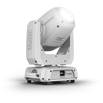 CHAUVET Intimidator Spot 375Z IRC 150 W LED moving head spot (White Housing) front/left view with white light shining upward and logo on front of base