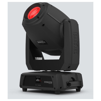 CHAUVET Intimidator Spot 475Z 250 W LED moving head spot front/right view of red light shining upwards and handle on side