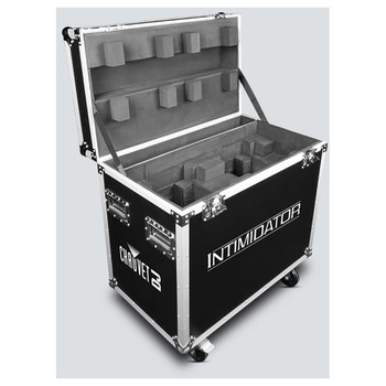 CHAUVET Intimidator Road Case Lightweight road case designed to hold 2 Intimidator moving heads front/left view of open case on wheels showing exterior and interior