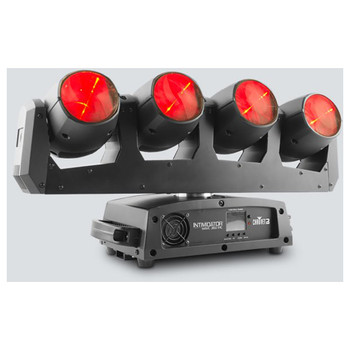 CHAUVET Intimidator Wave 360 IRC moving light array with four independently controlled 12-watt RGBW LED moving heads on a single rotating base front left view with all 4 lights facing forward in red