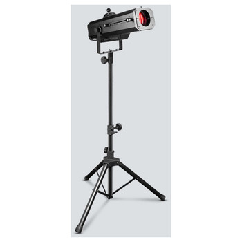 CHAUVET LED Followspot 120ST 120W LED followspot emitting tight beam with a crisp edge front/left view on tripod emitting red light