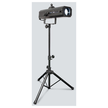 CHAUVET LED Followspot 75ST portable, LED-powered followspot on tripod front/left view with 75-watt white LED illuminated