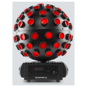CHAUVET Rotosphere Q3 mirror ball simulator with high-power, quad-color LEDs front view showing small screen, safety loop, and menu up down enter buttons on base of ball
