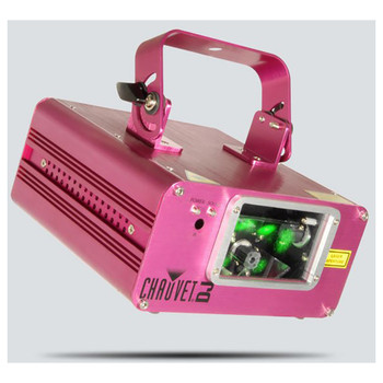 CHAUVET Scorpion Dual dual FAT BEAM aerial effect laser pink front/left view with green light shining from front