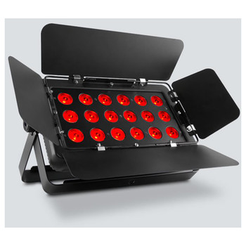 CHAUVET SlimBANK T18 USB washlight with 18 tri-color (RGB) LEDs front/left view with red lights
