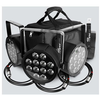 CHAUVET SlimPACK Q12 USB - 4 SlimPAR™ Q12 USB wash lights atop of 3 five-foot DMX cables and in front of custom Gear bag
