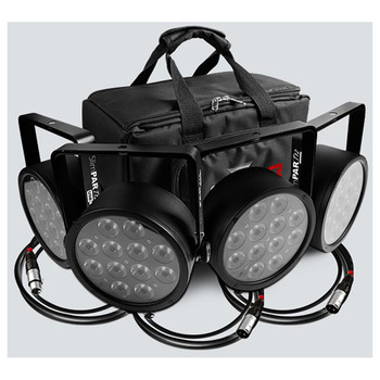 overview of entire SlimPACK T12 USB 4 individual SlimPar T12 USB wash lights without lights illuminated atop of 3 5-ft DMX cables and in front of custom gear bag