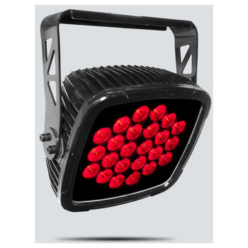 CHAUVET SlimPANEL Tri-24 IP Outdoor-rated, weatherproof, tri-color LED wash light front/left view with red lights illuminated
