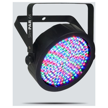 CHAUVET SlimPAR 64 wash light with 180 red, green and blue LEDs front/left view with all LEDs illuminated