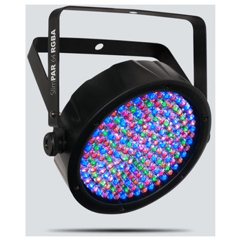 CHAUVET SlimPAR 64 RGBA with 180 red, green, blue and amber LEDs front/left view with all LEDs on