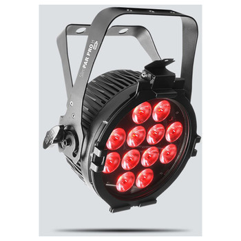 CHAUVET SlimPAR Pro H USB high-power, hex-color (RGBAW+UV), low-profile wash light front/left view with red lights illuminated