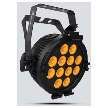 CHAUVET SlimPAR Pro Q USB high-power quad-color (RGBA), low-profile wash light front/left view with amber lights illuminated