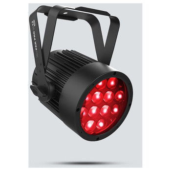 CHAUVET SlimPAR Pro QZ12 USB wash light with motorized zoom and quad-color (RGBA) LEDs front/left view with red lights