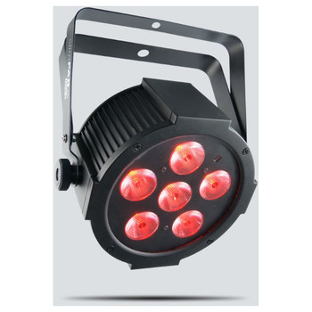 CHAUVET SlimPAR Q6 USB quad-color (RGBA) LED wash light with built-in D-Fi USB compatibility for instant wireless connectivity front/left view with red lights shining