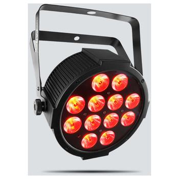 CHAUVET SlimPAR Q12 USB quad-color (RGBA) LED wash light front/left view with red lights