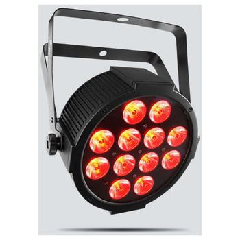 CHAUVET SlimPAR QUV12 USB quadcolor (RGB+UV) LED washlight front/left view with red lights