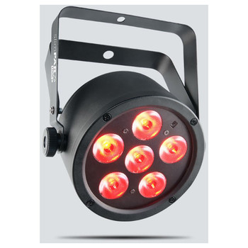 CHAUVET SlimPAR T6 USB tri-color (RGB) LED wash light with D-Fi USB compatibility front/left view with red lights