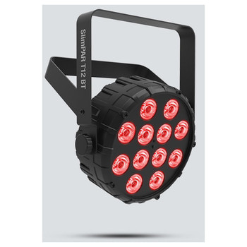 CHAUVET SlimPAR T12BT Compact wash light with built-in Bluetooth technology front/left view with red lights illuminated