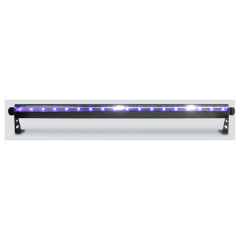CHAUVET SlimSTRIP UV-18 IRC High-output, DMX-controlled ultraviolet wash top view with lights on shining upwards