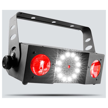 CHAUVET Swarm 4 FX 3-in-1 quad-color (RGBA) dual moonflowers, red/green laser and white strobe front/left view with red lights and strobe lights illuminated
