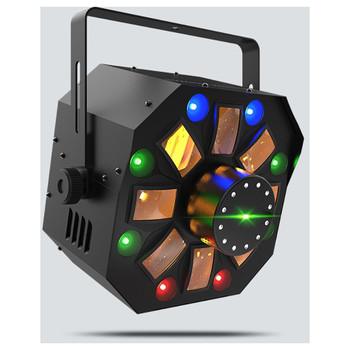 CHAUVET Swarm Wash FX 4-in-1 LED light that combines an RGBAW rotating derby, RGB+UV wash, red/green laser, and a ring of white SMD strobes front/left view with all effects illuminated