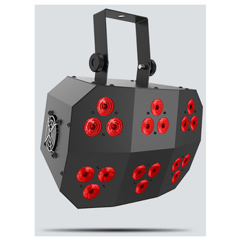 CHAUVET Wash FX 2 multi-purpose effect light with 18 Quad-color (RGB+UV) LEDs front/left view with red lights