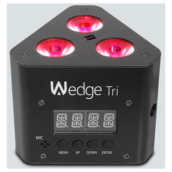 CHAUVET Wedge Tri triangle-shaped, DMX-controllable LED wash light red lights illuminated with screen and menu, up, down, enter buttons