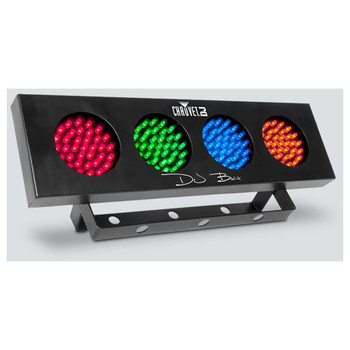 CHAUVET DJ Bank compact bank-style LED effect light front/left view with red green blue orange lights in individual circles on strip