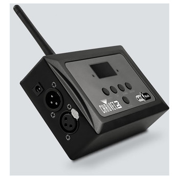CHAUVET D-Fi Hub compact, easy-to-use DMX unit, functions as either a transmitter or receiver left view showing buttons and plugs and antenna