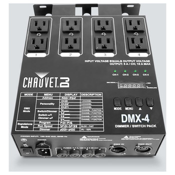 CHAUVET DMX-4 4-channel dimmer/switch pack with up to 5 amps per channel (15A max) top view showing all outlets, plugs, buttons and lights