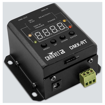 CHAUVET DMX-RT DMX recording device with triggerable playback from DMX or the phoenix connectors top/left view showing all buttons and screen