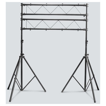 CHAUVET CH-31 Portable Trussing with T-Bars front view with 2 tripod stands connected by 4 bars