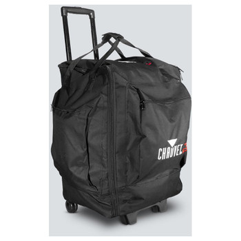 CHAUVET VIP Gear Bag (With Wheels) front/left view showing wheels, handle, bag, zippers