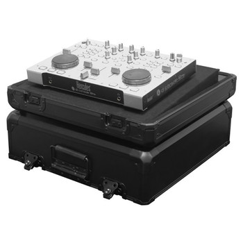 Black KROM Universal Extra Small Size DJ Controller Carrying Case KDJC1BL open case with equipment on removable angled controller tray