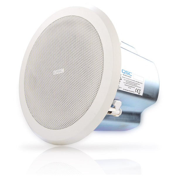 QSC AD C821R SYSTEM 8 inch round High power blind mount coaxial ceiling speaker angled view. EMI Audio