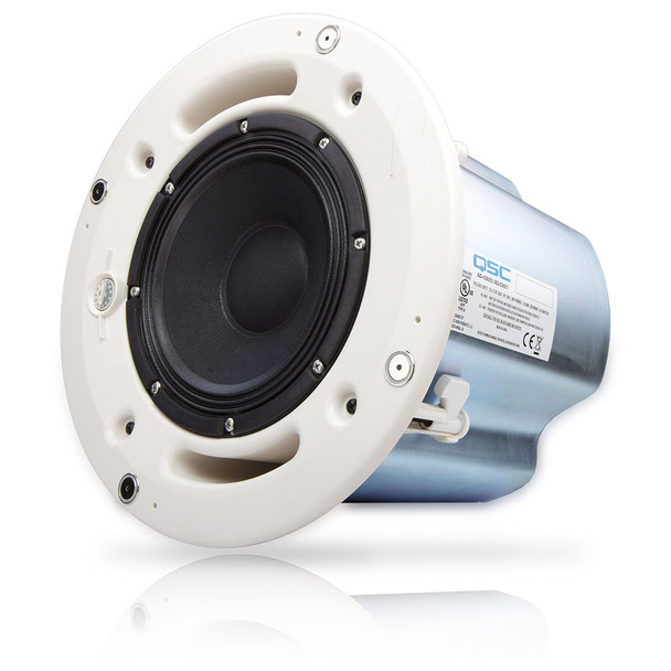 QSC AD C821R SYSTEM 8 inch round High power blind mount coaxial ceiling speaker angled view no grill. EMI Audio