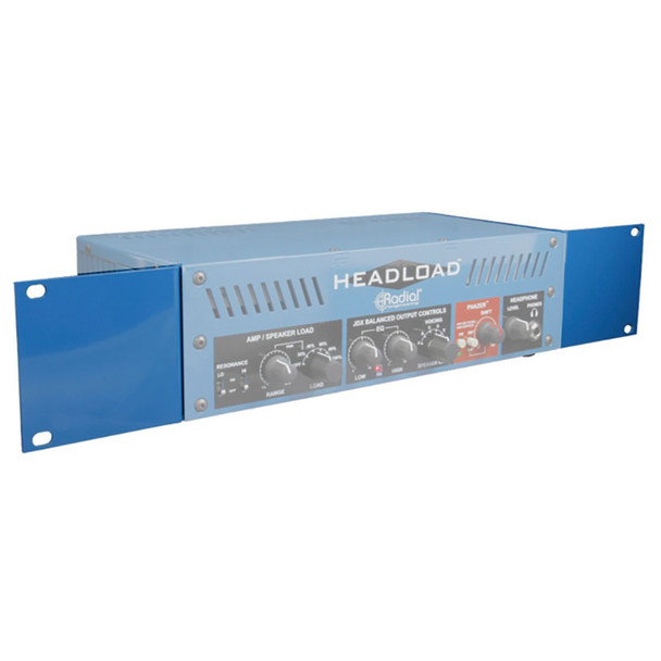 "HL19-RA Rack adaptor for Headload V4, V8 & V16 - holds 1 unit in two 19"" rack spaces. Rack panels highlighted"