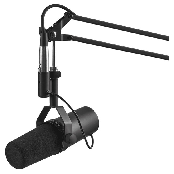 SHURE SM7B Cardioid Dynamic Studio Vocal Microphone on boom. EMI Audio