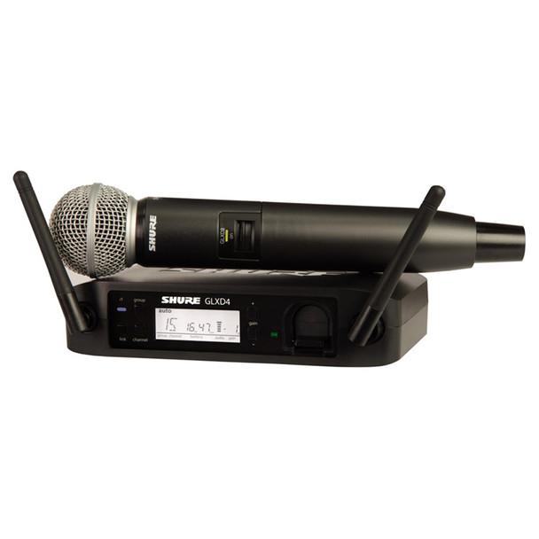 SHURE GLXD24/SM58-Z2 Vocal System with GLXD4 Wireless Receiver, GLXD2 Handheld Transmitter with SM58 Microphone. EMI Audio