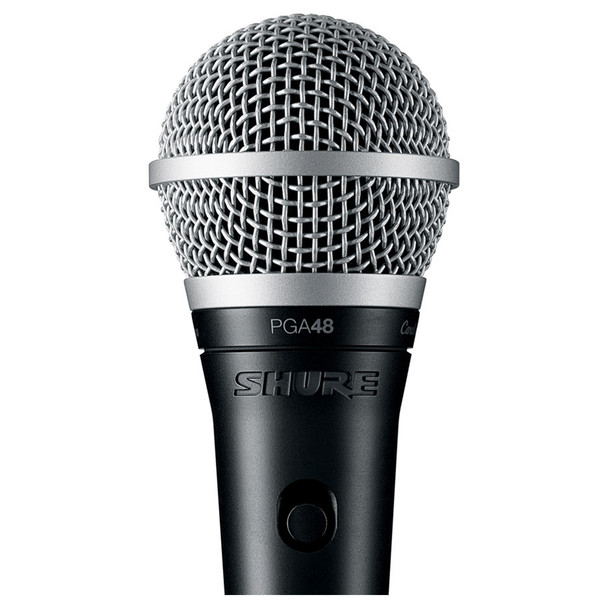 SHURE PGA48-LC Cardioid dynamic vocal microphone close up - less cable. EMI Audio