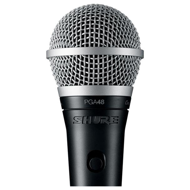 SHURE PGA48-XLR Cardioid dynamic vocal microphone close up - XLR-XLR cable. EMI Audio