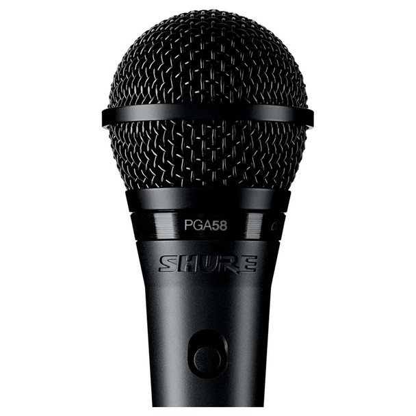 SHURE PGA58-LC Cardioid dynamic vocal microphone close up - less cable. EMI Audio