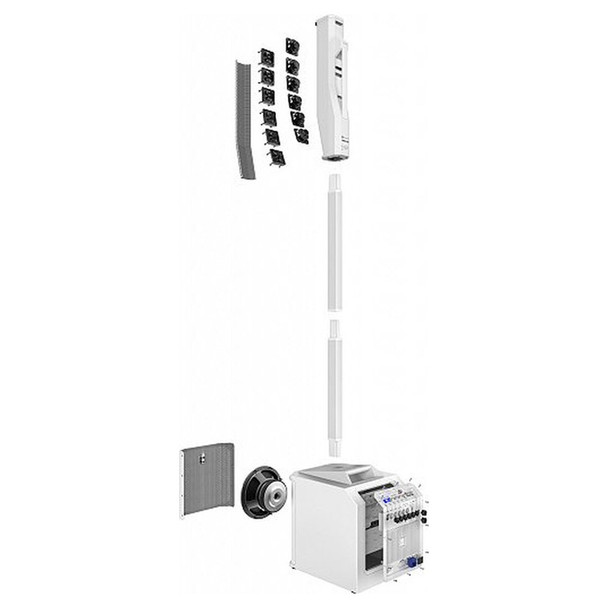 EV EVOLVE 30M White Portable Powered Column Speaker System rear view of sub and array components. EMI Audio