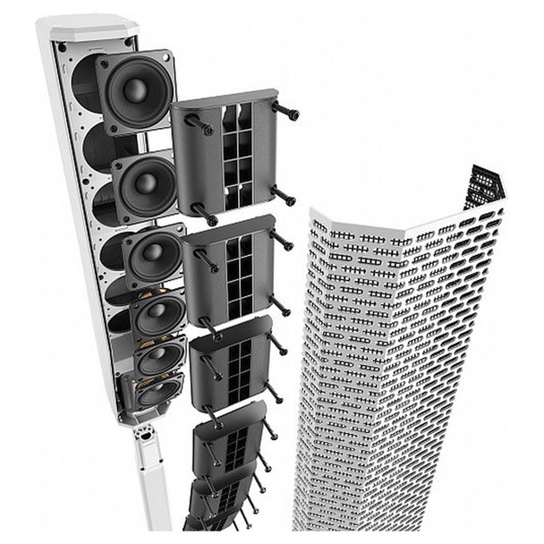 EV EVOLVE 30M White Portable Powered Column Speaker System close up of array components. EMI Audio