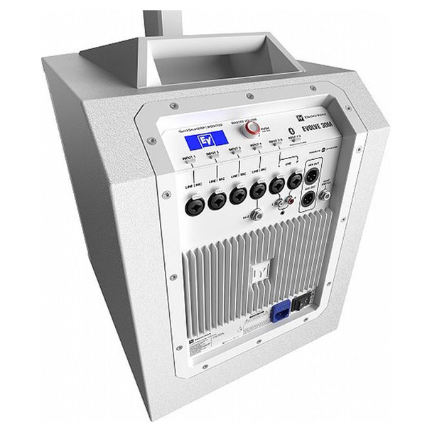EV EVOLVE 30M White Portable Powered Column Speaker System rear angle of sub and controls and I/o. EMI Audio