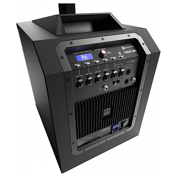 EV EVOLVE 30M Portable Powered Column Speaker System angle view of inputs outputs from behind